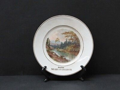 Antique Gem City Grocery Advertising Plate, Laramie WY. - Early 1900's