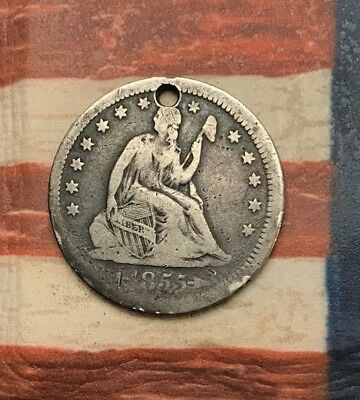 1855 25C Seated Liberty Quarter 90% Silver Vintage US Coin #HS159