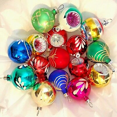 Vintage MIXED LOT OF 16 Christmas Ornaments FEATHER TREE Reflectors BLOWN GLASS