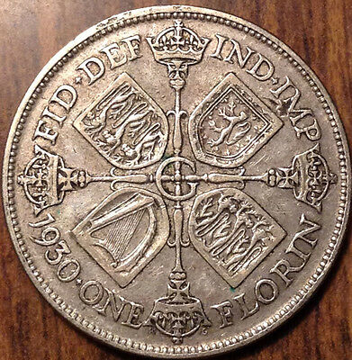 1930 Gb Uk Great Britain Florin .500 Silver Better Date