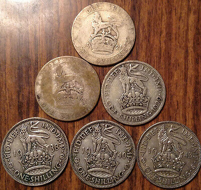 Lot Of 6 Uk Gb Great Britain Shilling .500 Silver Lot Of 6 Coins