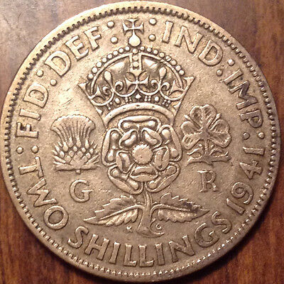 1941 Uk Gb Great Britain Silver Two Shillings