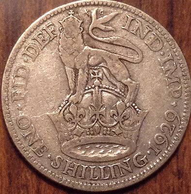 1929 Uk Gb Great Britain Silver One Shilling In Good Condition