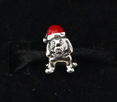 Authentic PANDORA Sterling Silver Red Enamel Christmas Puppy Charm 791769EN39