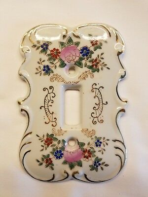 Vintage Ceramic Light Switch Plate Cover with Floral Design Made in Japan