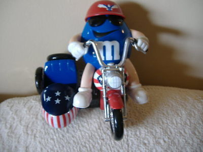 M&M's Red White Blue Motorcycle Candy Dispenser Limited Edition Collectibles