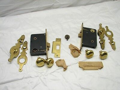 Pr Early Brass Mortise Entry Door Lock Architectural Hardware Knob Escutcheon