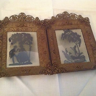 Vintage antique pair of wooden frames with bronze overlay w/silhouette Germany