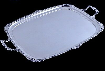 V.fine V.large 1918 English Sterling Silver Chippendale Tea Serving Platter Tray