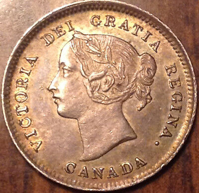 1899 Canada Silver 5 Cents Toned And Very Near Uncirculated