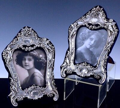 Incredible Pair Victorian Design Britannia Sterling Silver Figural Photo Frames