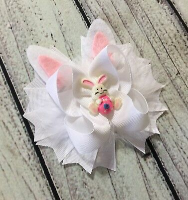 Handmade Easter Bunny Eggs Boutique Stacked Hair Bow