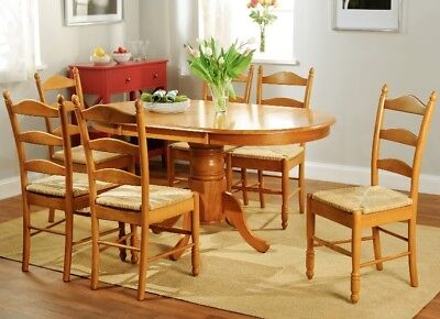 7 pc Country Oak Style Ladderback Dining Set Pedestal Base 6 Rush Ladder Chairs