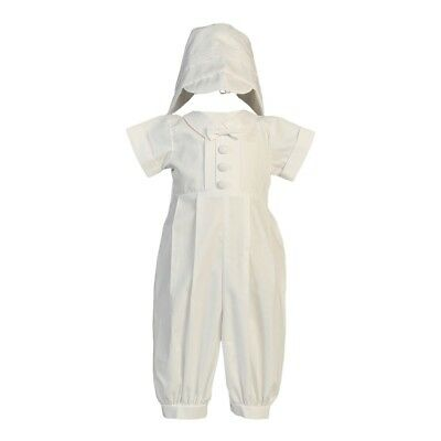 Lito Baby Boys White Cotton Long Romper Hat Baptism Christening Set 0-3M