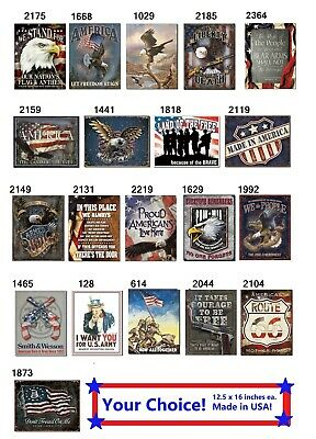 Patriotic TIN SIGN metal poster vintage eagle us flag military wall decor #DS
