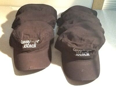 Lot of 7 Captain Morgan Black Military Army Cadet distressed style black hat cap
