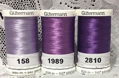 3 NEW Purple GUTERMANN 100% polyester embroidery thread 547 yards Spools