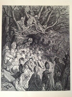 London, Rare Antique Print 1872 Gustave Dore, The River Bank Under The Trees