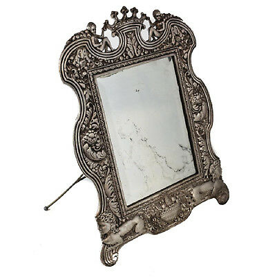 Antique French Silvered Bronze Easle-Back Mirror, 19th Century