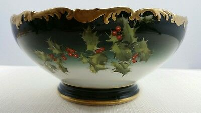 T&V France Limoges Tressemanes & Vogt Antique Center Bowl Christmas Holly Berry