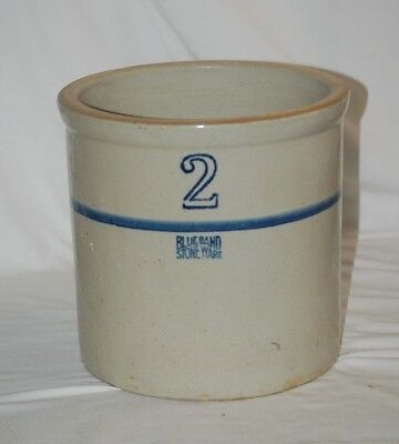 Vintage Primitive No 2 Blue Band Stoneware Crock White Hall Ruckles Illinois MCM