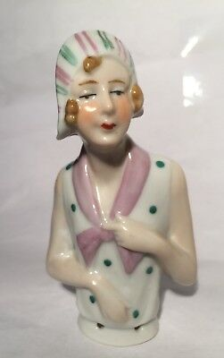 """Large 3 3/4"""" Antique Germany*figural Flapper Lady Half /pin Cushion Doll German"""
