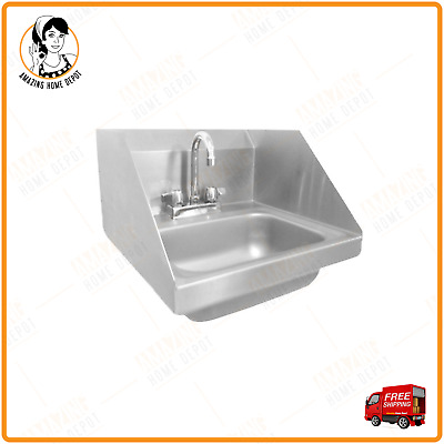 Wall Mount Kitchen Sink Single Bowl Wash Utility Stainless Steel w/Chrome Faucet