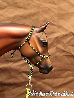 Model horse rope halter and lead rope-Traditional(1:9) size-Green/Black