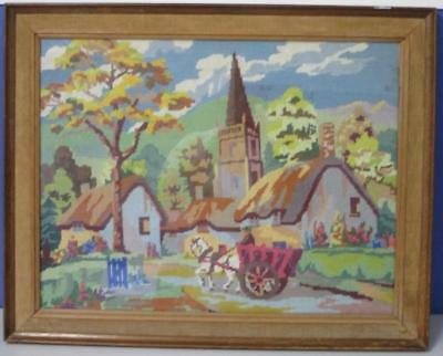 Vintage TAPESTRY Country Cottage Horse & Cart Completed Framed Needlepoint