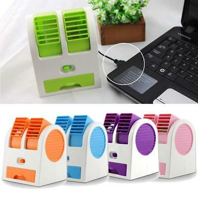 1x Mini Small Fan Cooling Portable Desktop Dual Bladeless Air Conditioner USB BR