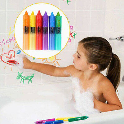 6 Pcs Baby Kids Safety Washable Bath Crayons Bathtime Fun Educational Toys Conve