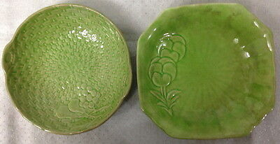 2 Vintage Shorter & Sons Green Bon Bon Dishes (Pansy Flowers + Pears / Grapes)