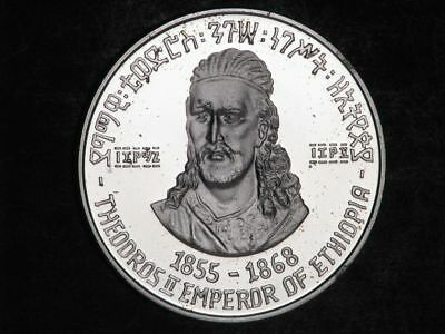ETHIOPIA 1972 5 Dollars Theodros II Silver Crown Proof
