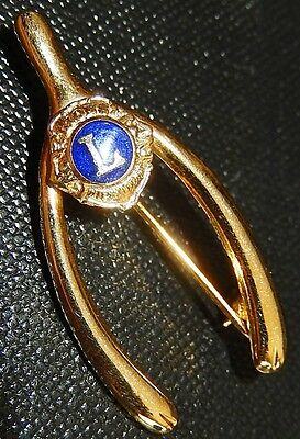 Gold Tone Lions Club International Pin/Brooch Wish Bone Shaped