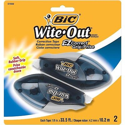 BIC Wite-Out Brand EZ Correct Grip Correction Tape, White, 2-Count New