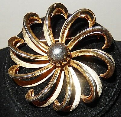 Stunning Vintage Estate Gold Tone Hoop Petal Floral Design Flower Brooch ( # 10)