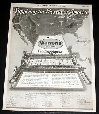 1918 Old Wwi Magazine Print Ad, Warren's Printing Papers, Presses Of America!