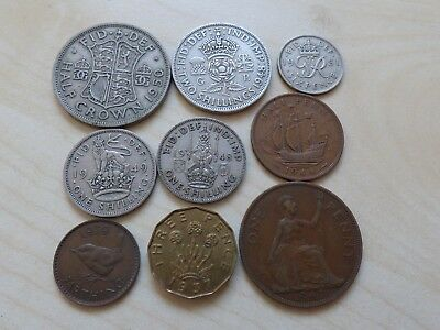George VI Pre-Decimal 9 Coins Set Collection Half Crown Shilling Penny Farthing