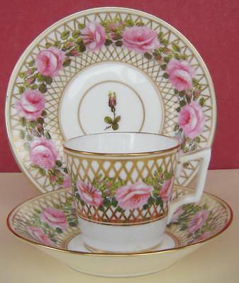 S & H Derby Porcelain Small Cup Saucer & Plate Roses #1 c1900