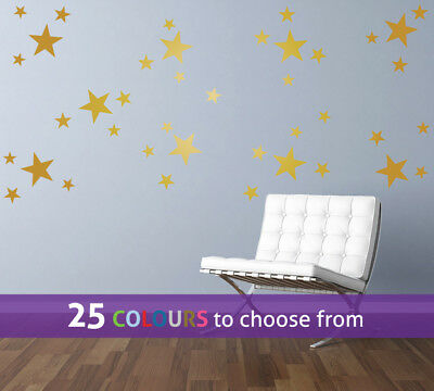 MIXED size 1.5, 2, 4 inch STARS pack of 40 wall art stickers decal baby nursery