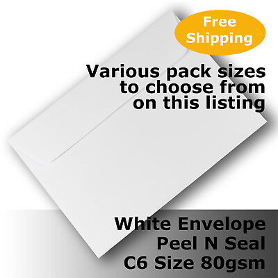 Envelopes White C6 Size Peel N Seal 114 x 162mm Wallet Shape #E24CA