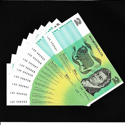 A consecutive run of 10 UNC Australian $2 notes