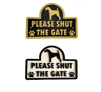 Airedale Terrier - Please Shut The Gate - 3D Dog Plaque - House Garden Door Sign