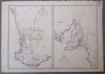 W Australia & S Australia, Edward Weller, Weekly Dispatch Atlas, London, 1858