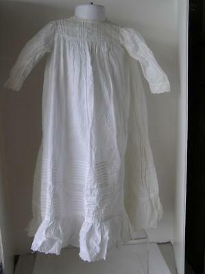 "Antique Victorian Baby Belgium Cut Lace White Christening Gown & Slip 26"" long"
