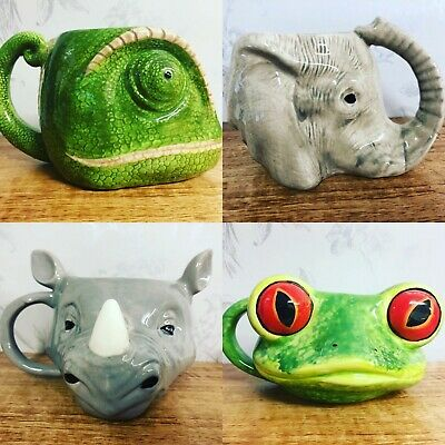 Large Colourful Detailed Ceramic Animal / Reptile Head Jungle Mug with 3D Face