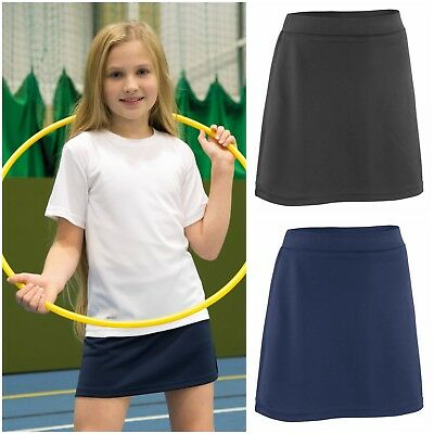 Kids Girls Sports Skort Skirt Shorts Black Navy Gym Hockey Tennis Netball Track