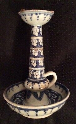 Old Chinese Blue and White Chamber Stick/Candle Holder - Rare Item