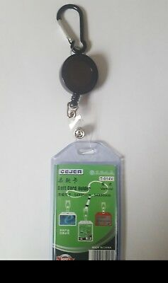 Retractable Pull  VERTICAL ID card Holder Reel Recoil  Belt Clip Carabiner Hook