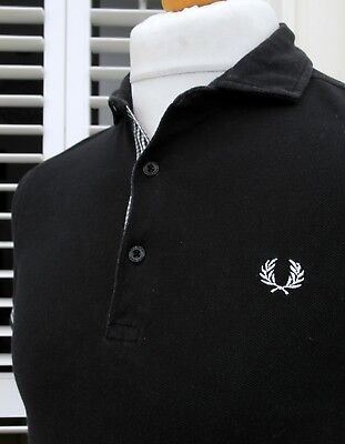 Fred Perry Black Gingham Trim Slim Polo - S - Mod Ska Scooter Casuals Workwear
